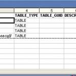 Из Excel в 1С, схема базы данных, список таблиц (имена листов)